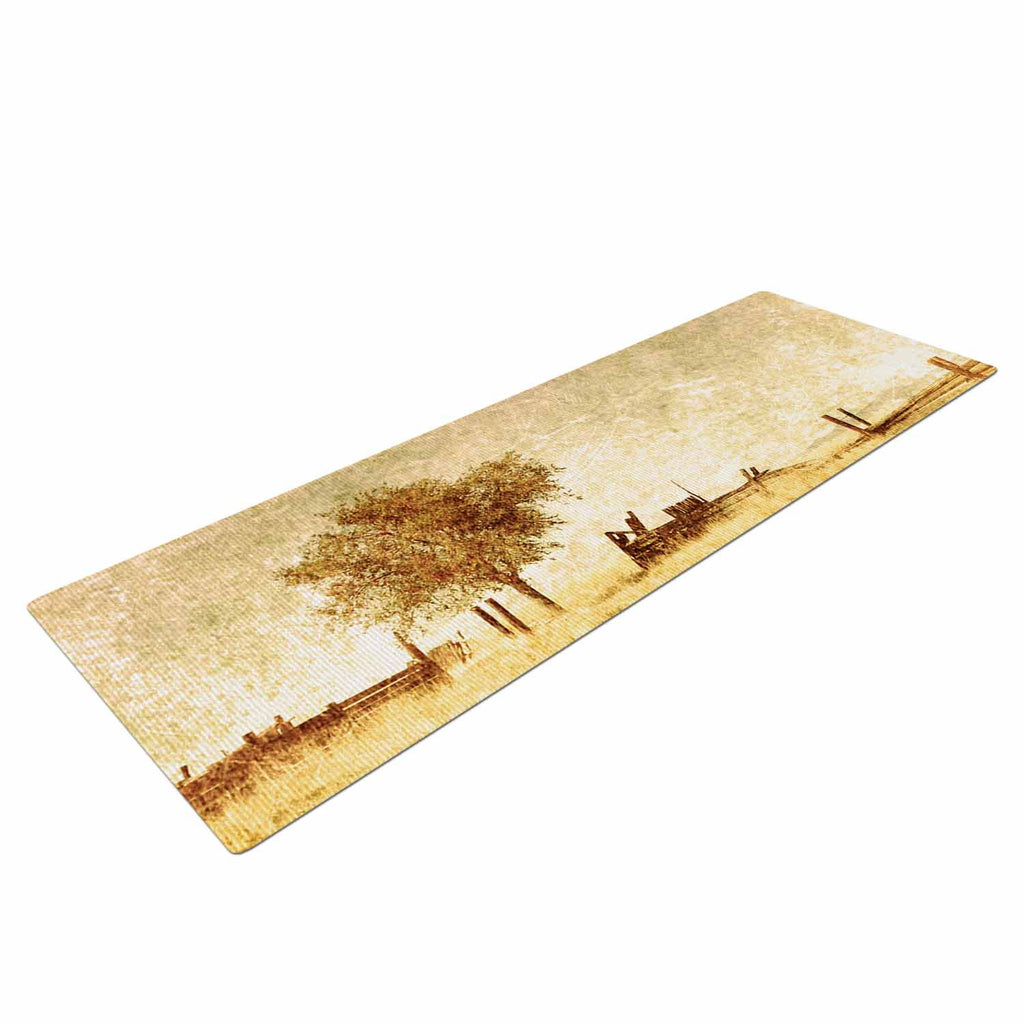 "Sylvia Coomes ""One Tree"" Brown Tan Yoga Mat - KESS InHouse  - 1"
