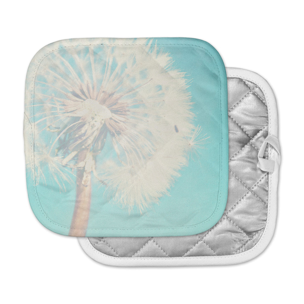 "Sylvia Coomes ""Aqua Dandelion"" Photography Floral Pot Holder"