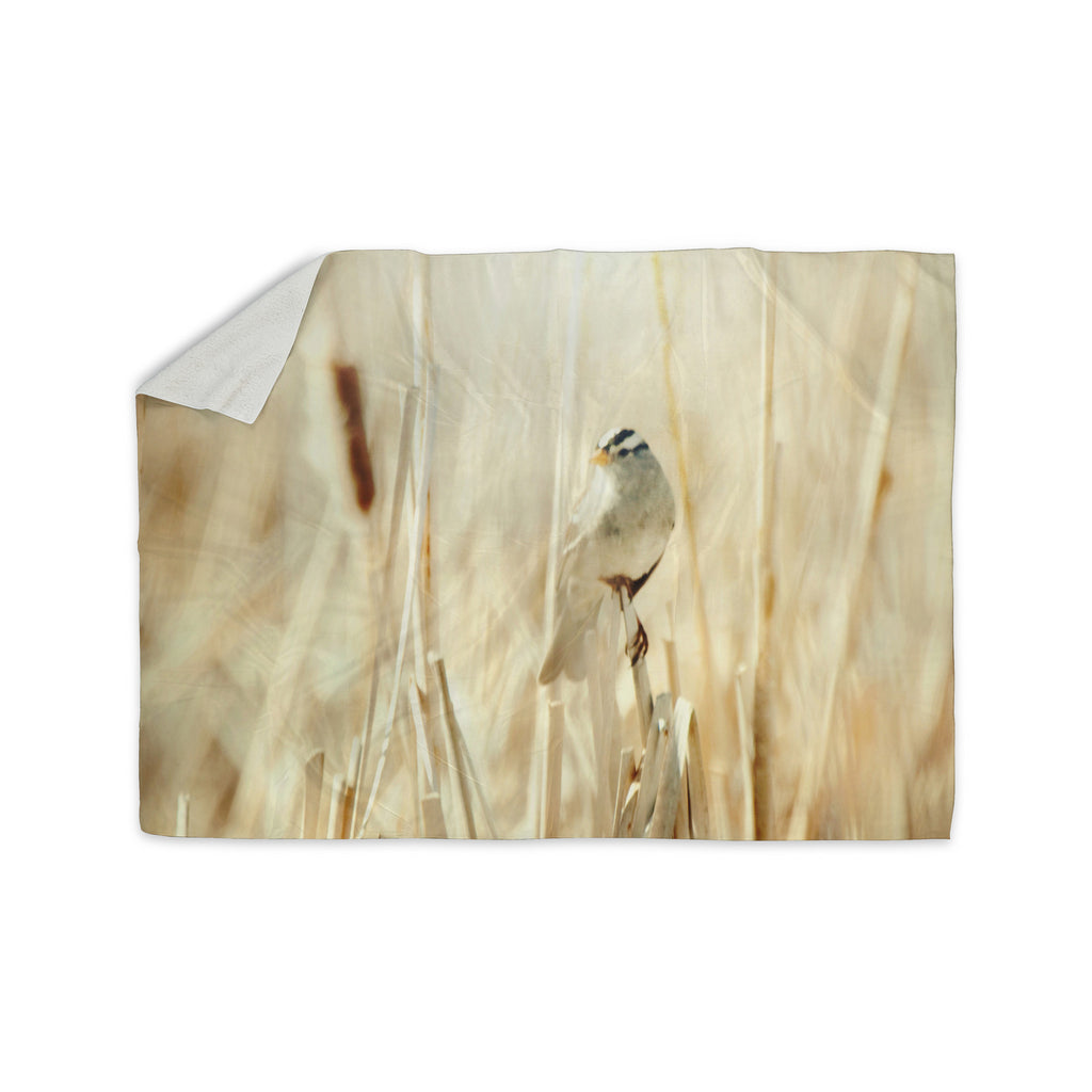 "Sylvia Coomes ""Bird in Ethereal Light"" Tan Gold Sherpa Blanket - KESS InHouse  - 1"