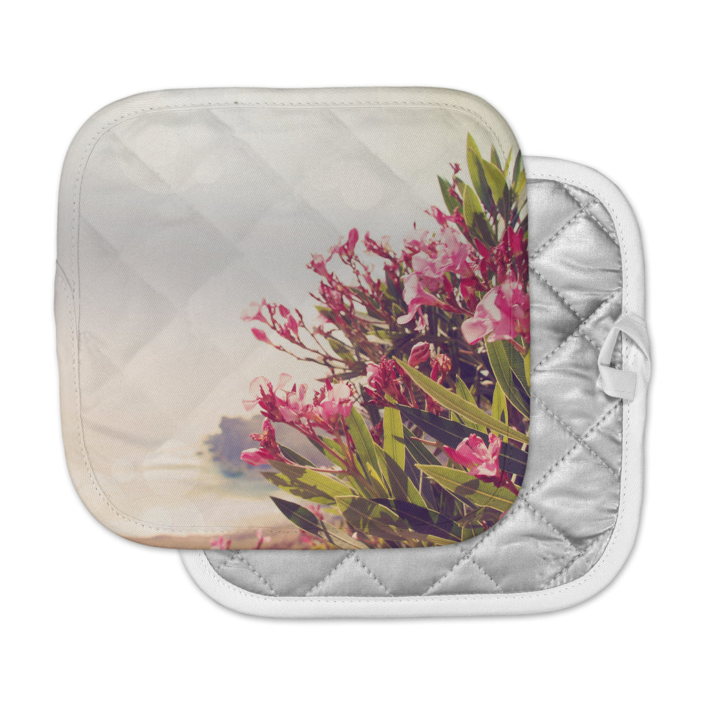 "Sylvia Coomes ""Flowers In Paradise"" Green Pink Pot Holder"