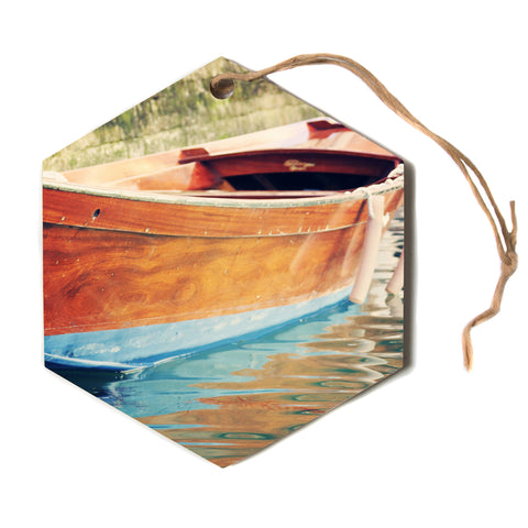 "Sylvia Coomes ""Venetian Boat"" Blue Brown Hexagon Holiday Ornament"