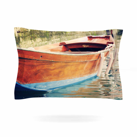 "Sylvia Coomes ""Venetian Boat"" Blue Brown Pillow Sham - KESS InHouse  - 1"