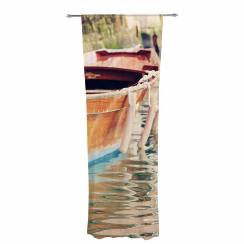 "Sylvia Coomes ""Venetian Boat"" Blue Brown Decorative Sheer Curtain - KESS InHouse  - 1"