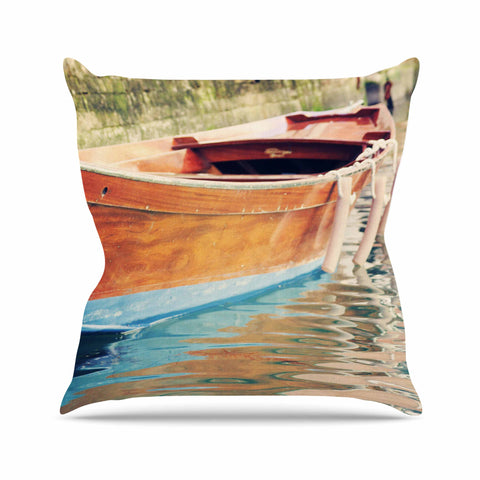 "Sylvia Coomes ""Venetian Boat"" Blue Brown Throw Pillow - KESS InHouse  - 1"