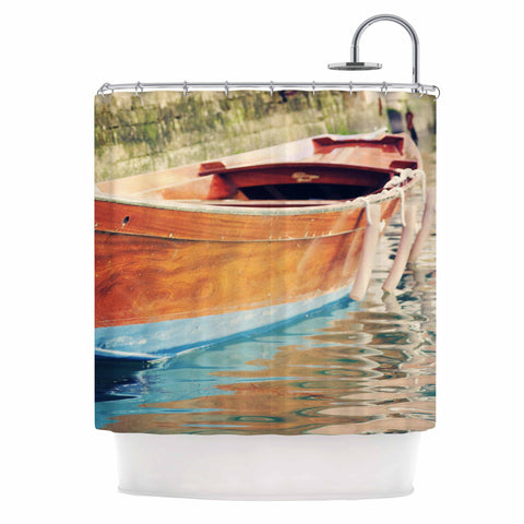 "Sylvia Coomes ""Venetian Boat"" Blue Brown Shower Curtain - KESS InHouse"