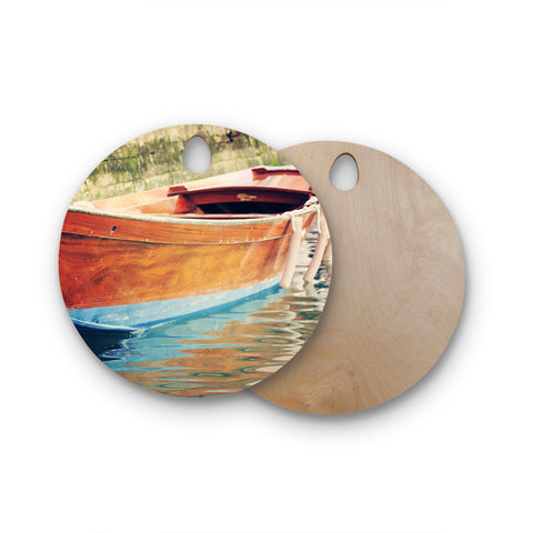 "Sylvia Coomes ""Venetian Boat"" Blue Brown Round Wooden Cutting Board"