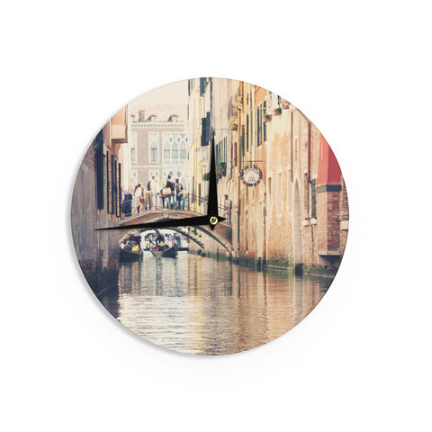 "Sylvia Coomes ""Venice 10"" Beige Brown Wall Clock - KESS InHouse"