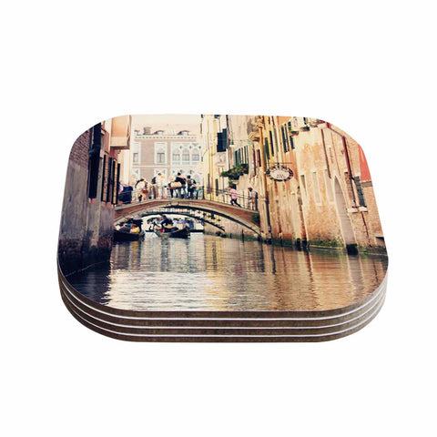 "Sylvia Coomes ""Venice 10"" Beige Brown Coasters (Set of 4)"