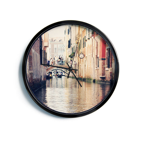 "Sylvia Coomes ""Venice 10"" Beige Brown Modern Wall Clock"