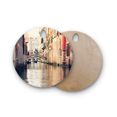 "Sylvia Coomes ""Venice 10"" Beige Brown Round Wooden Cutting Board"
