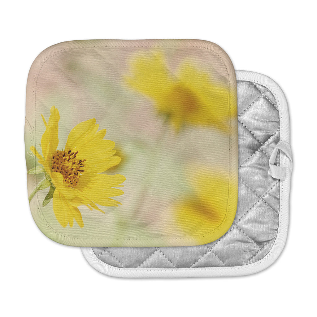 "Sylvia Coomes ""Abstract Yellow Flowers"" Green Photography Pot Holder"