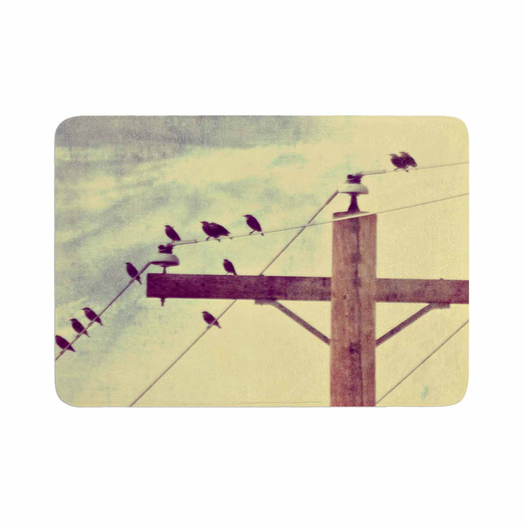 "Sylvia Coomes ""Vintage Birds On A Wire 2 "" Yellow Digital Memory Foam Bath Mat - KESS InHouse"