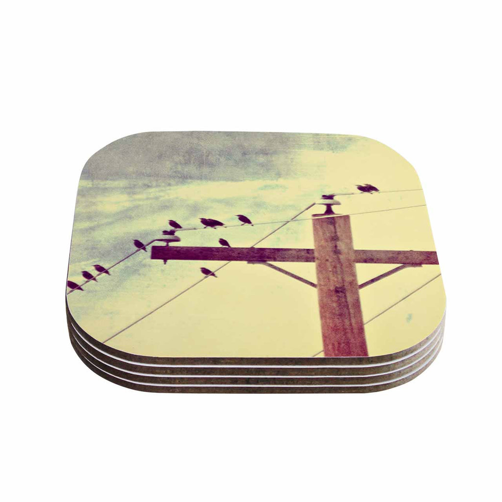 "Sylvia Coomes ""Vintage Birds On A Wire 2 "" Yellow Digital Coasters (Set of 4)"