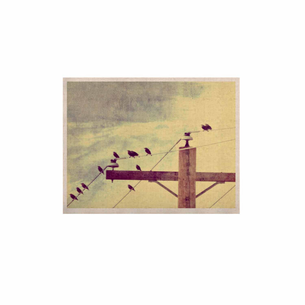 "Sylvia Coomes ""Vintage Birds On A Wire 2 "" Yellow Digital KESS Naturals Canvas (Frame not Included) - KESS InHouse  - 1"