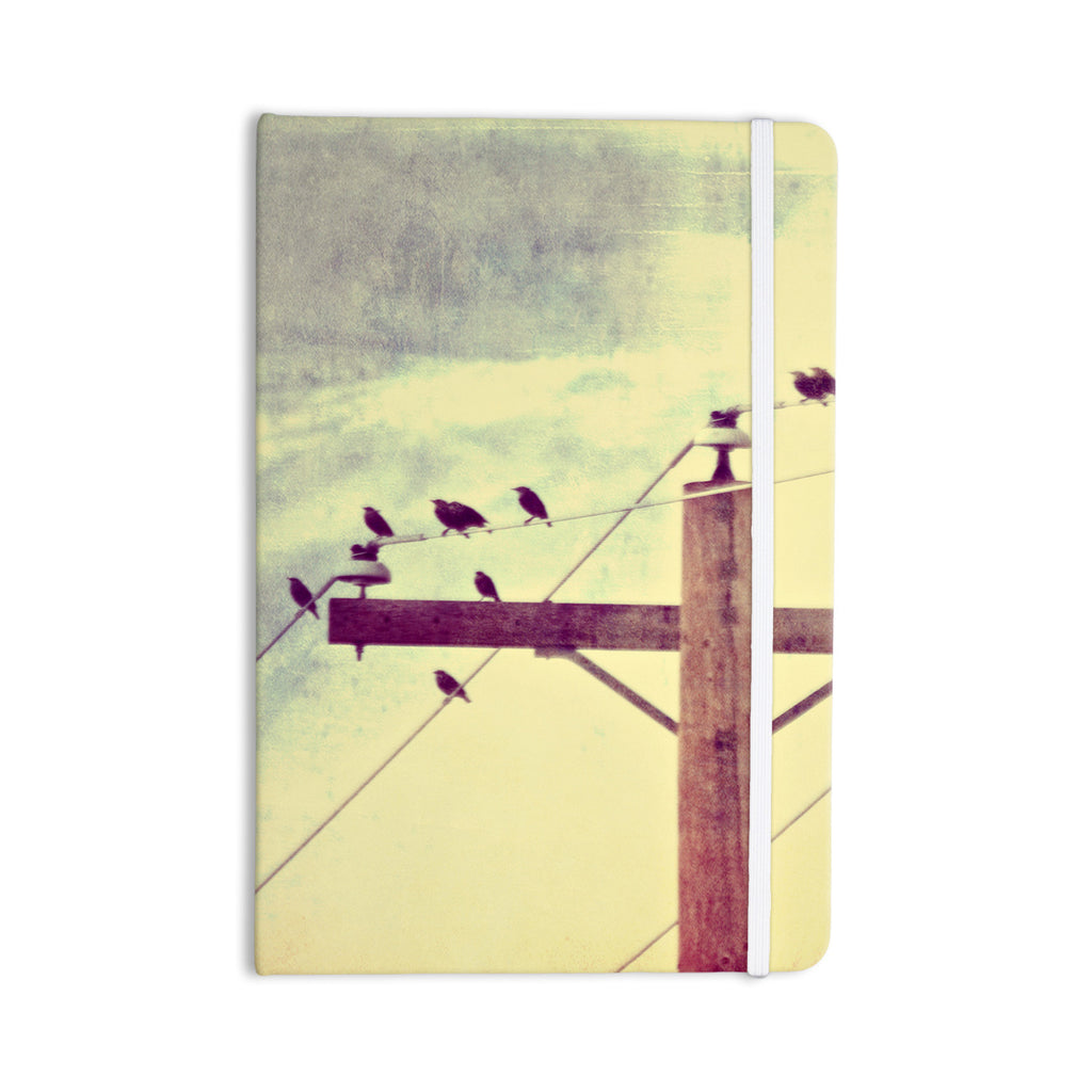 "Sylvia Coomes ""Vintage Birds On A Wire 2 "" Yellow Digital Everything Notebook - KESS InHouse  - 1"
