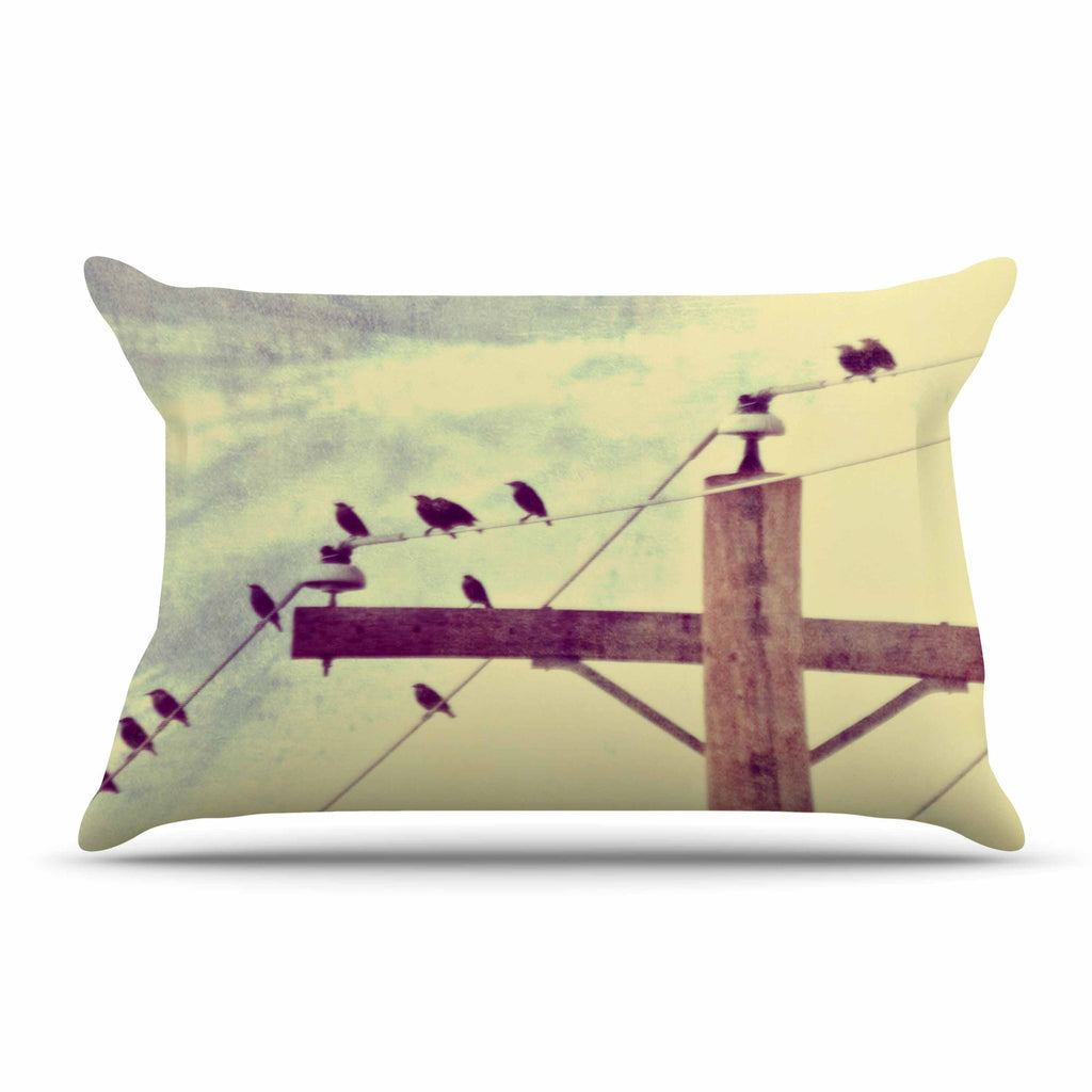 "Sylvia Coomes ""Vintage Birds On A Wire 2 "" Yellow Digital Pillow Sham - KESS InHouse  - 1"