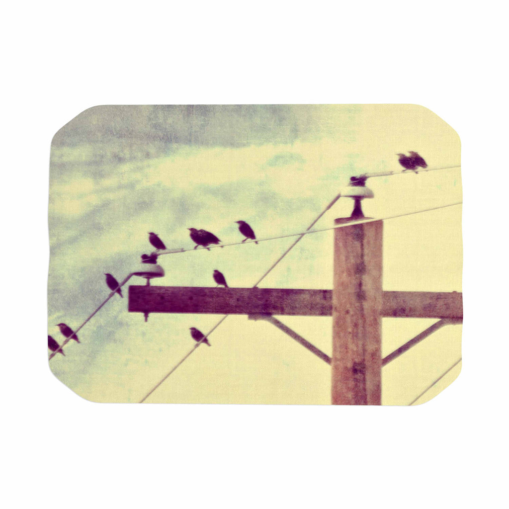 "Sylvia Coomes ""Vintage Birds On A Wire 2 "" Yellow Digital Place Mat - KESS InHouse"