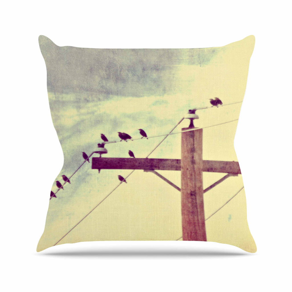 "Sylvia Coomes ""Vintage Birds On A Wire 2 "" Yellow Digital Outdoor Throw Pillow - KESS InHouse  - 1"