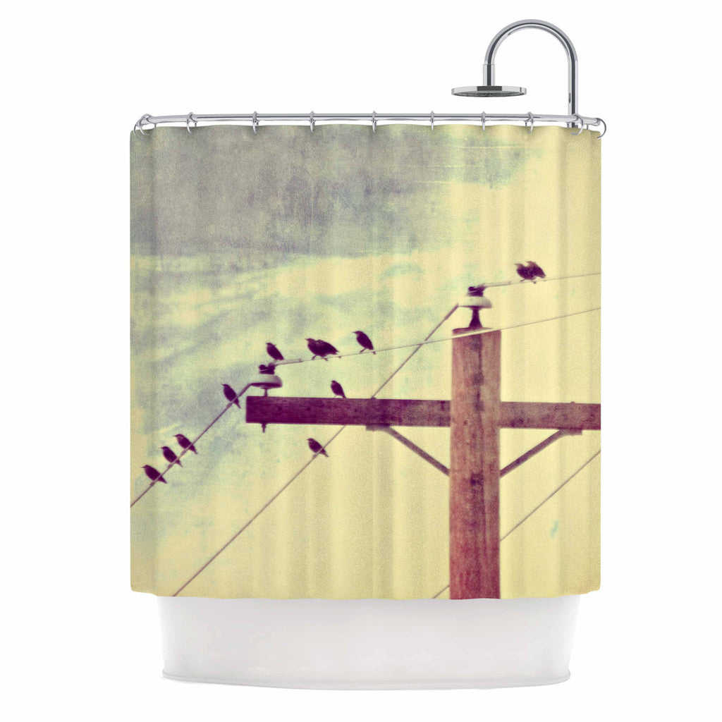 "Sylvia Coomes ""Vintage Birds On A Wire 2 "" Yellow Digital Shower Curtain - KESS InHouse"