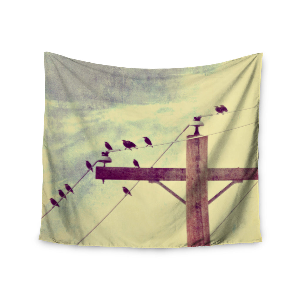 "Sylvia Coomes ""Vintage Birds On A Wire 2 "" Yellow Digital Wall Tapestry - KESS InHouse  - 1"