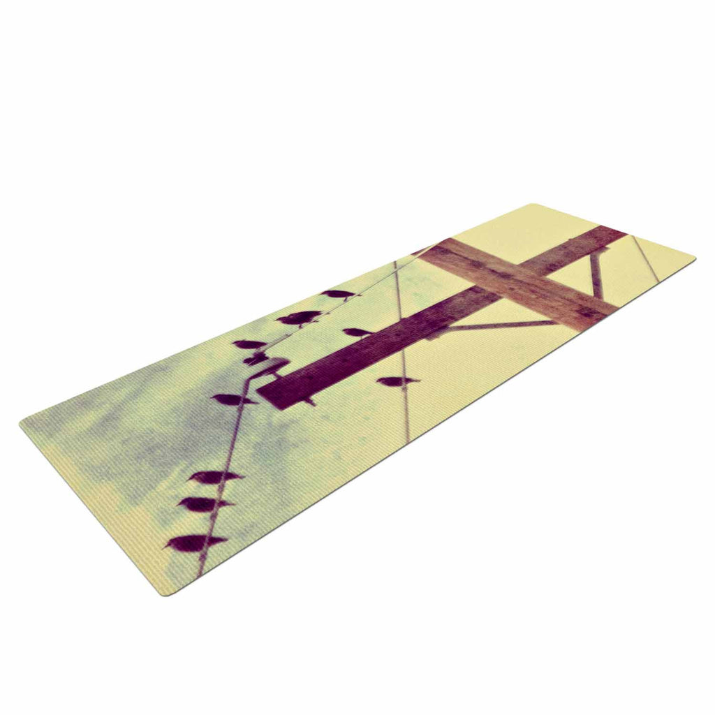 "Sylvia Coomes ""Vintage Birds On A Wire 2 "" Yellow Digital Yoga Mat - KESS InHouse  - 1"