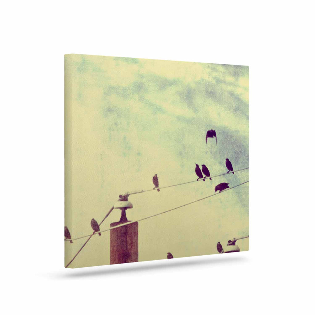 "Sylvia Coomes ""Vintage Birds On A Wire 1"" Brown Vintage Canvas Art - KESS InHouse  - 1"