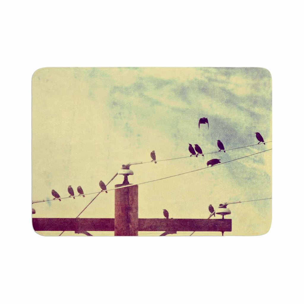 "Sylvia Coomes ""Vintage Birds On A Wire 1"" Brown Vintage Memory Foam Bath Mat - KESS InHouse"