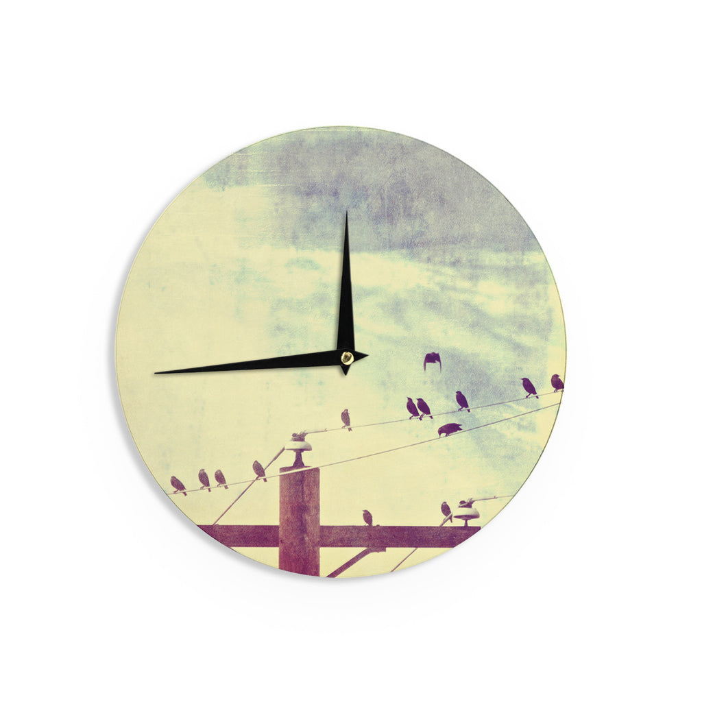 "Sylvia Coomes ""Vintage Birds On A Wire 1"" Brown Vintage Wall Clock - KESS InHouse"