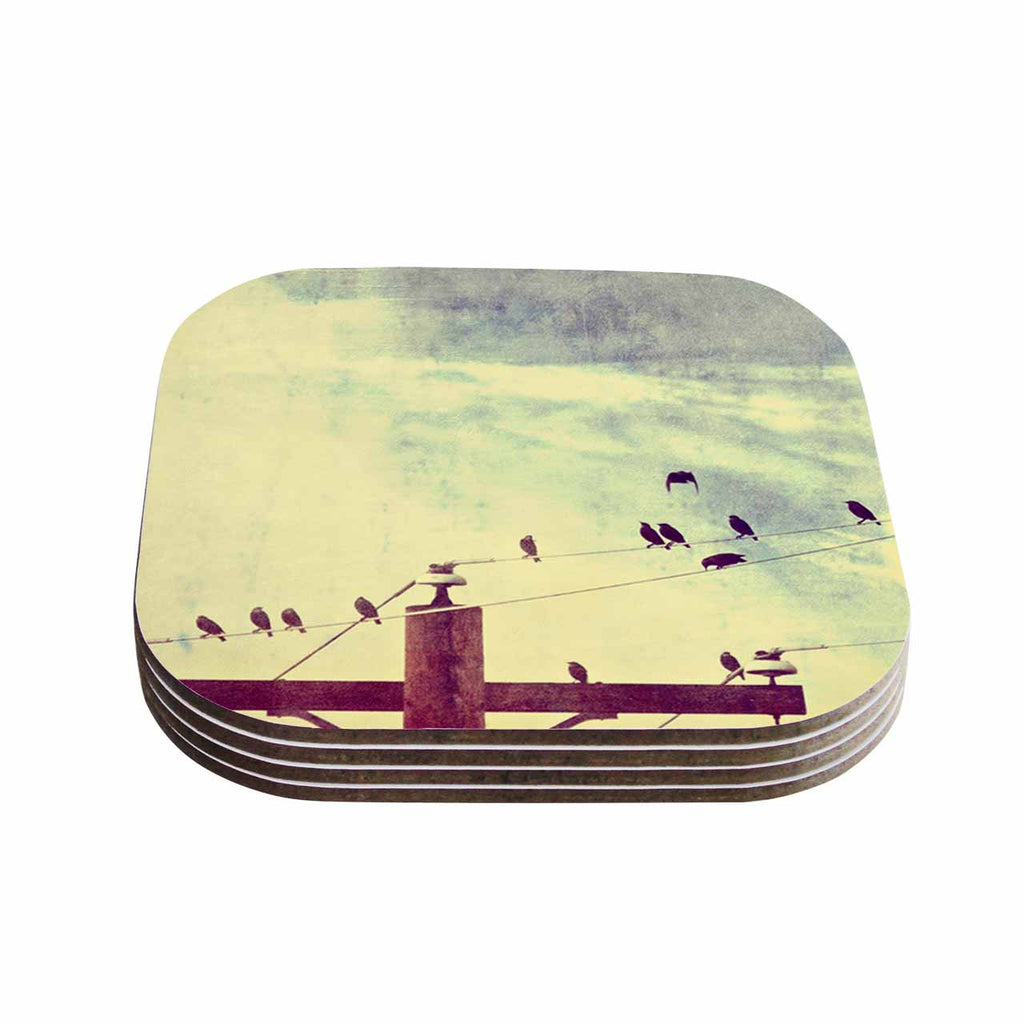 "Sylvia Coomes ""Vintage Birds On A Wire 1"" Brown Vintage Coasters (Set of 4)"