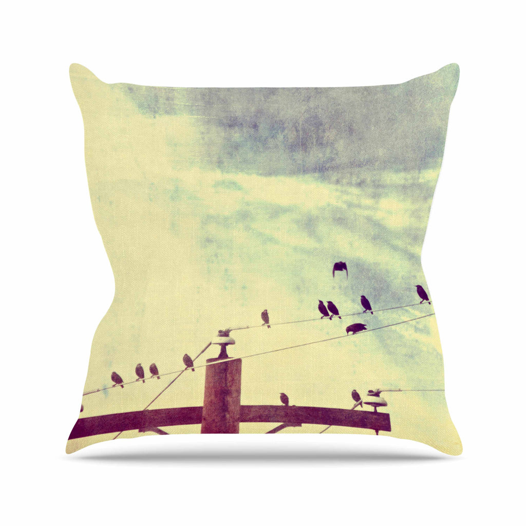 "Sylvia Coomes ""Vintage Birds On A Wire 1"" Brown Vintage Outdoor Throw Pillow - KESS InHouse  - 1"