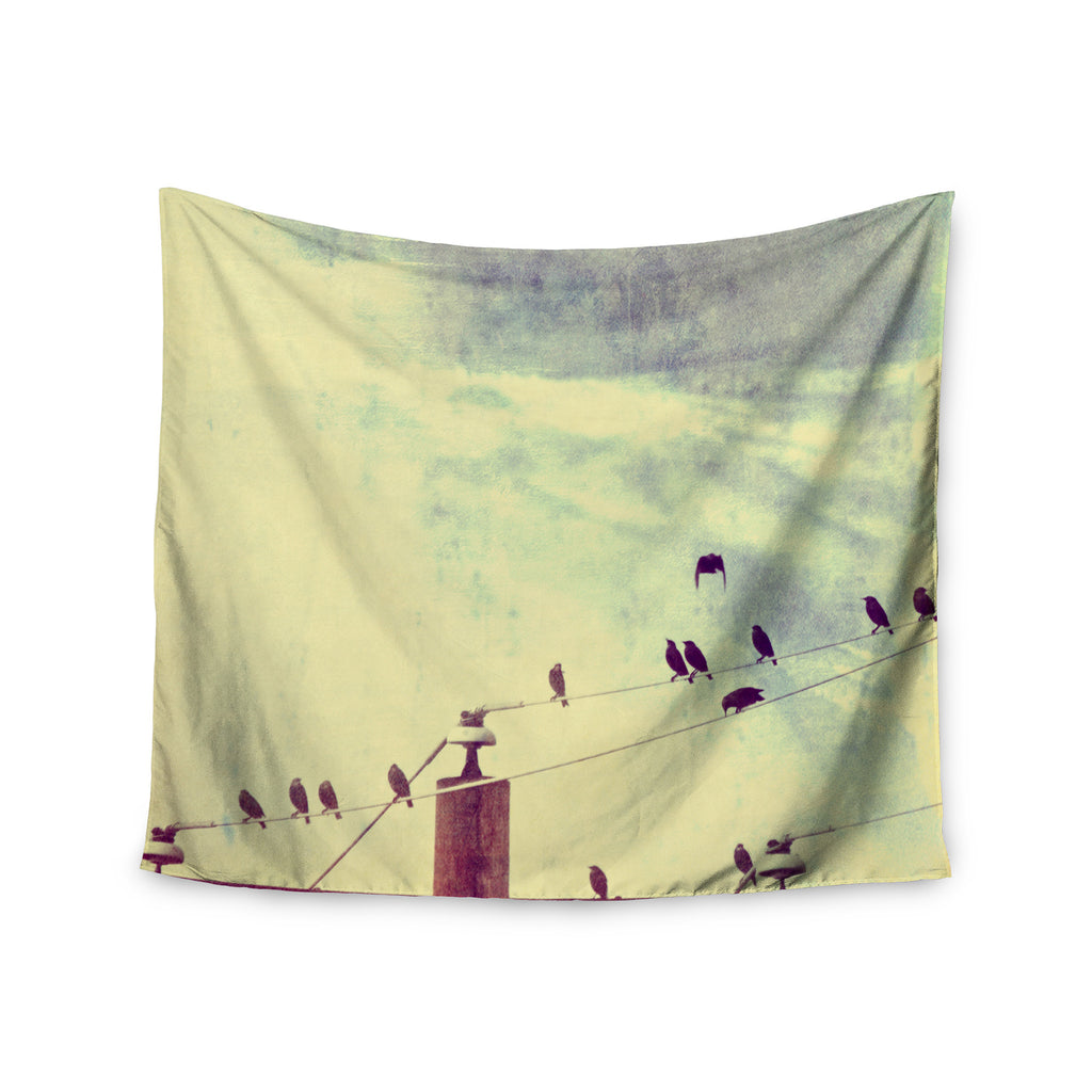 "Sylvia Coomes ""Vintage Birds On A Wire 1"" Brown Vintage Wall Tapestry - KESS InHouse  - 1"