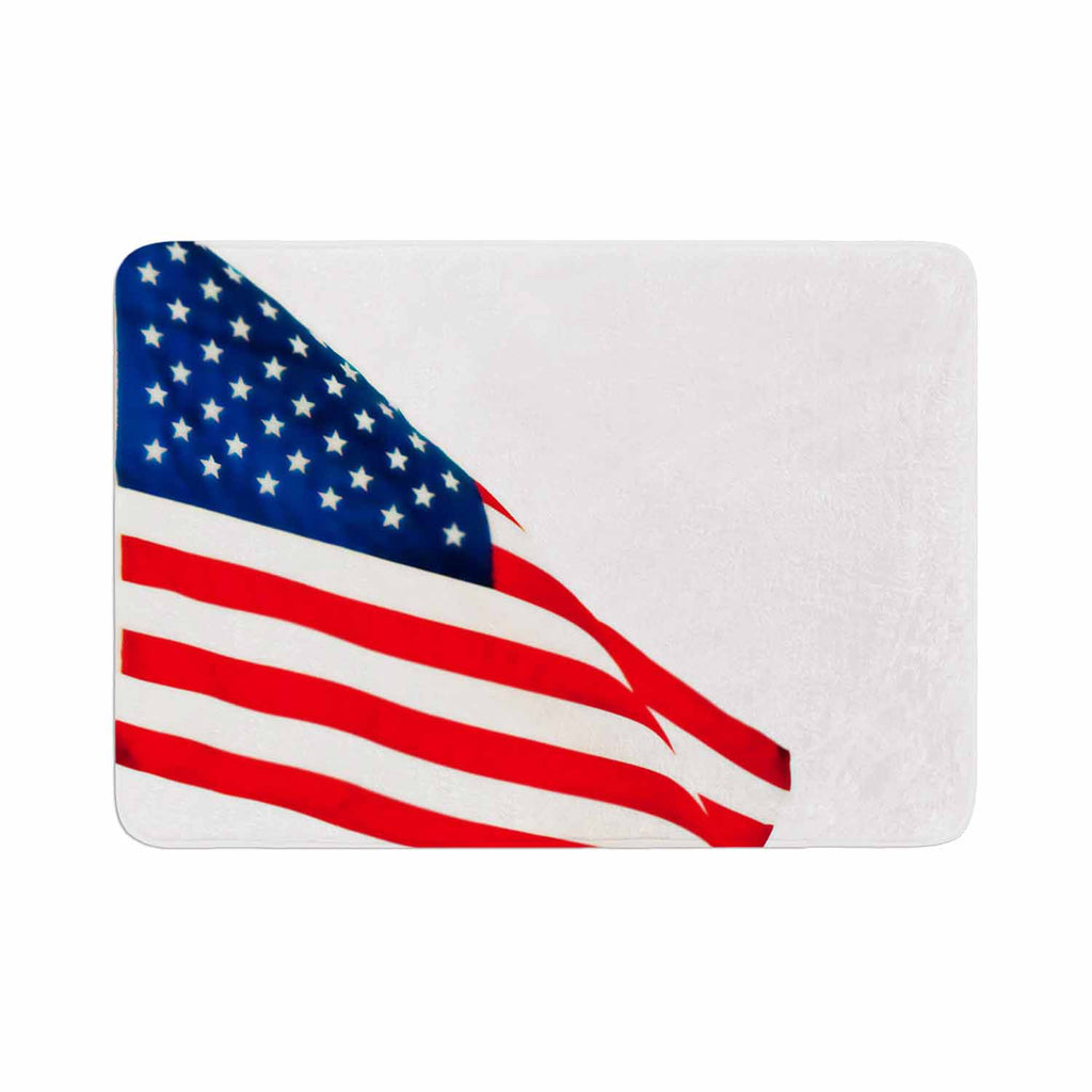 "Sylvia Coomes ""American Flag"" Red Holiday Memory Foam Bath Mat - KESS InHouse"