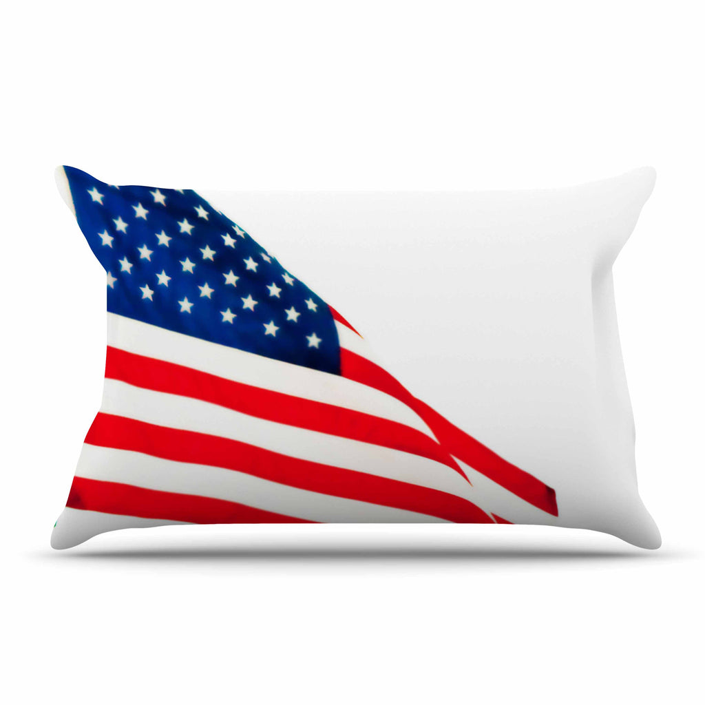 "Sylvia Coomes ""American Flag"" Red Holiday Pillow Sham - KESS InHouse  - 1"