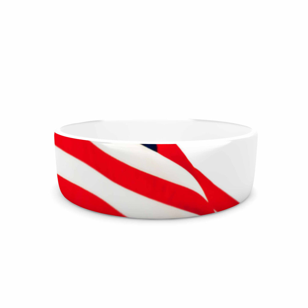 "Sylvia Coomes ""American Flag"" Red Holiday Pet Bowl - KESS InHouse"