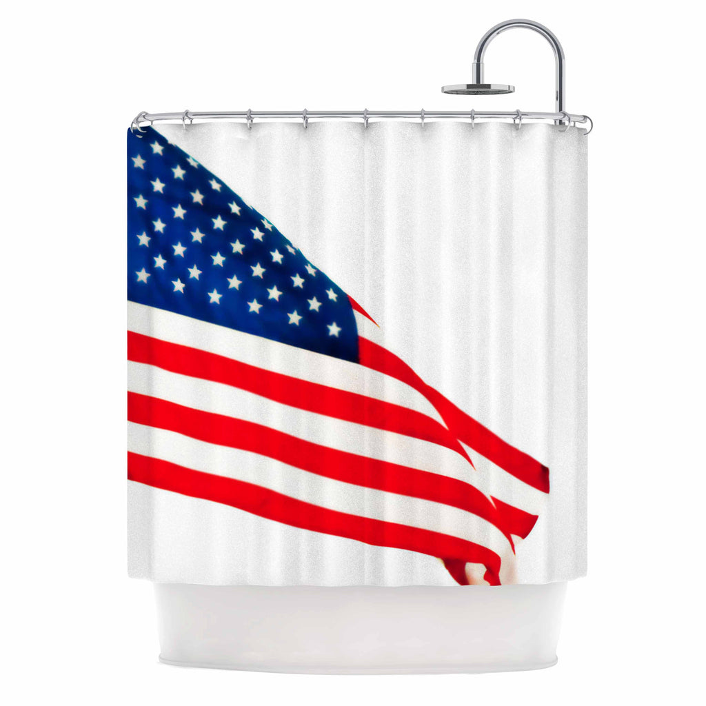 "Sylvia Coomes ""American Flag"" Red Holiday Shower Curtain - KESS InHouse"