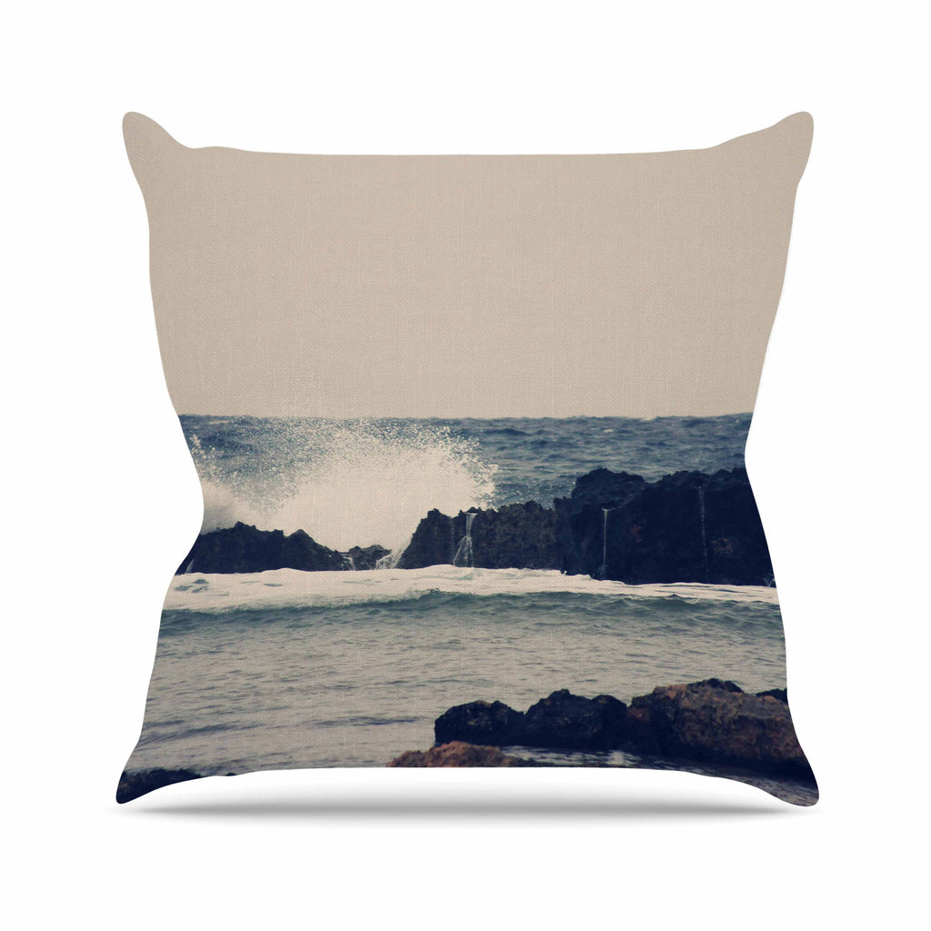 "Sylvia Coomes ""Ocean Blue 2"" White Coastal Outdoor Throw Pillow - KESS InHouse  - 1"