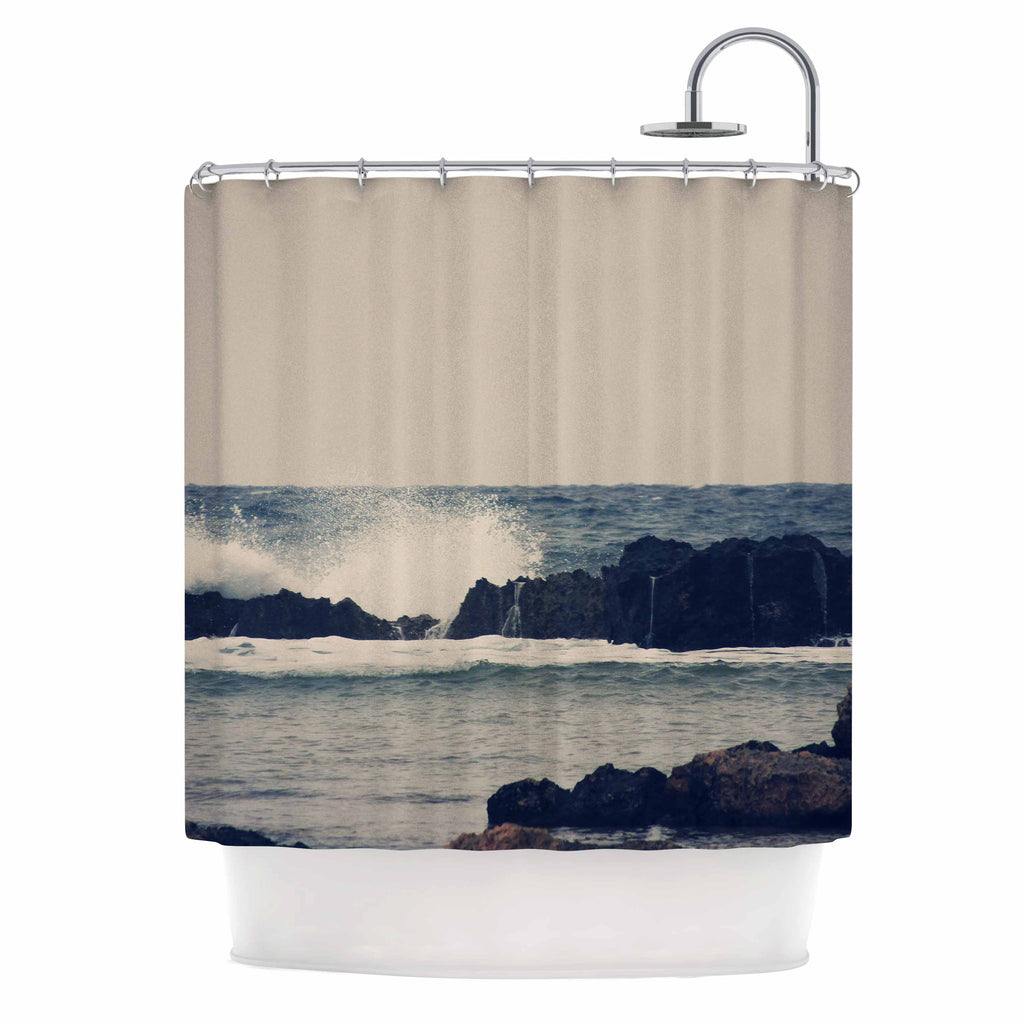 "Sylvia Coomes ""Ocean Blue 2"" White Coastal Shower Curtain - KESS InHouse"