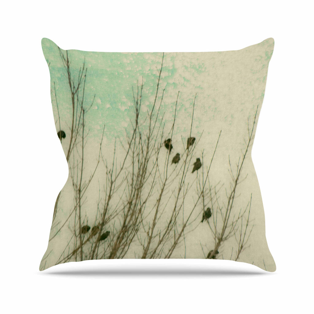 "Sylvia Coomes ""Braving The Cold"" Blue Photography Throw Pillow - KESS InHouse  - 1"