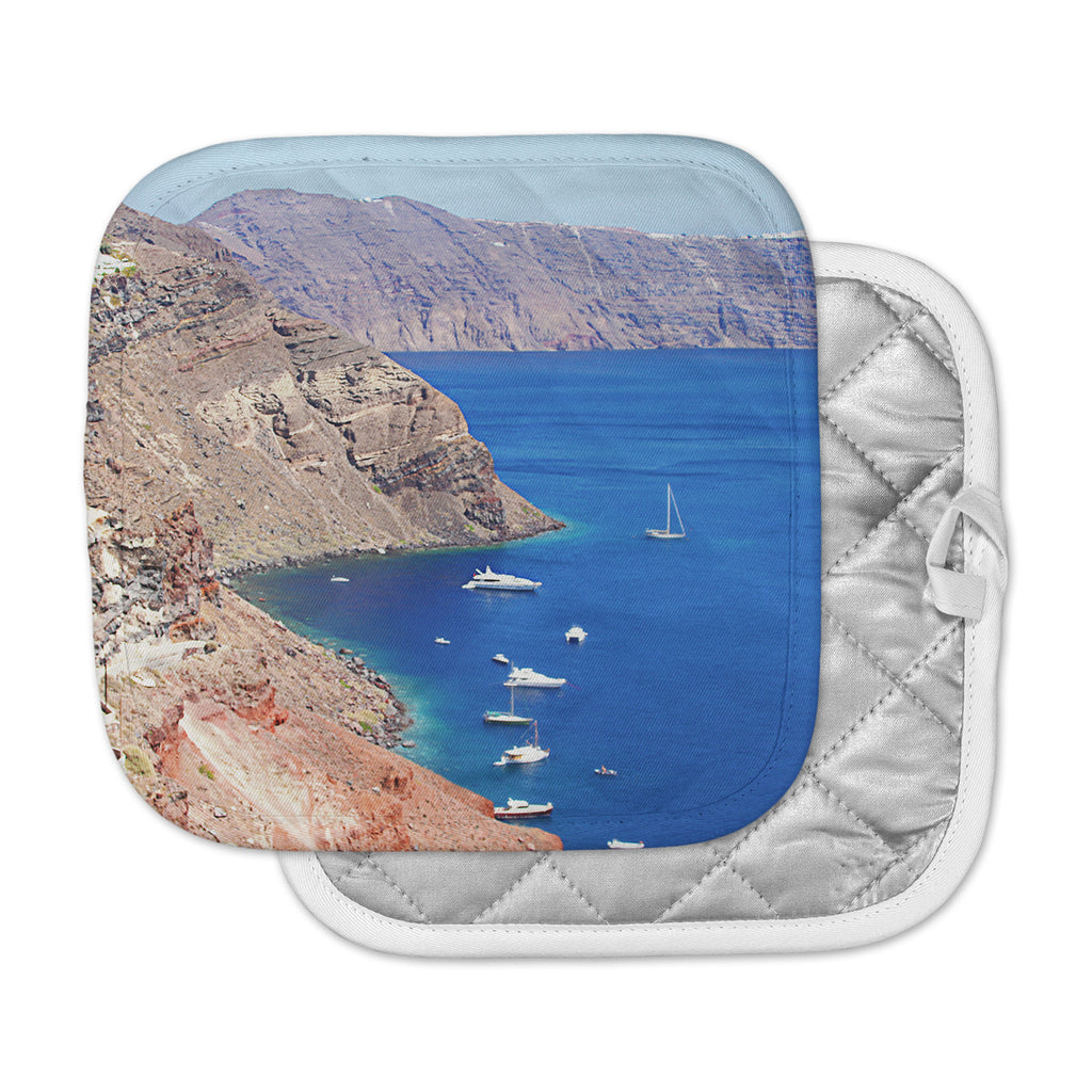 "Sylvia Coomes ""Santorini Coastline"" Blue Tan Pot Holder"
