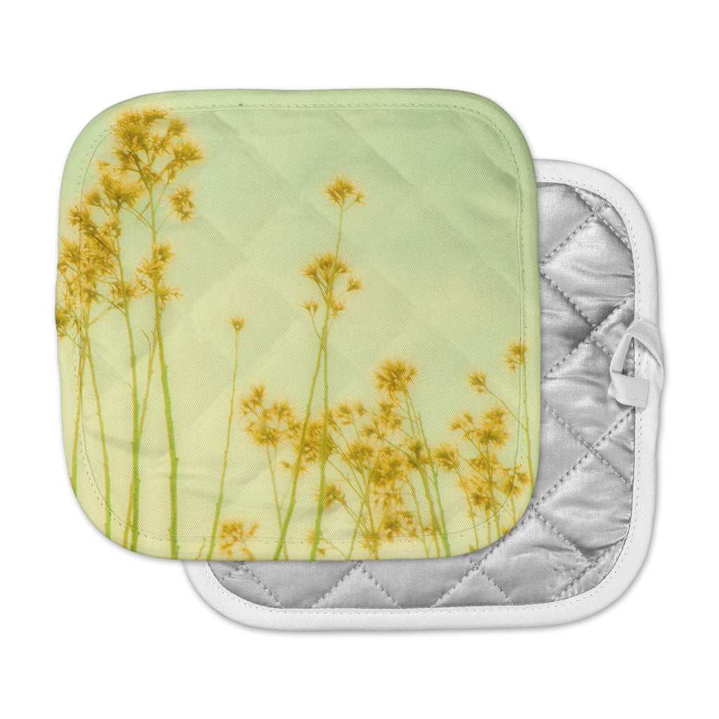 "Sylvia Coomes ""Abstract Yellow Wild Flowers"" Green Yellow Pot Holder"
