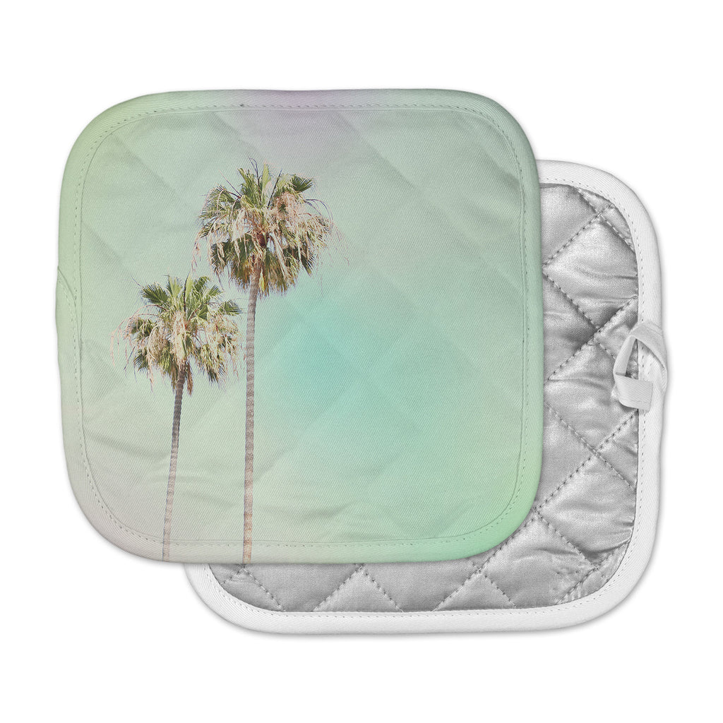 "Sylvia Coomes ""Pastel Palm Trees"" Multicolor Blue Photography Pot Holder"
