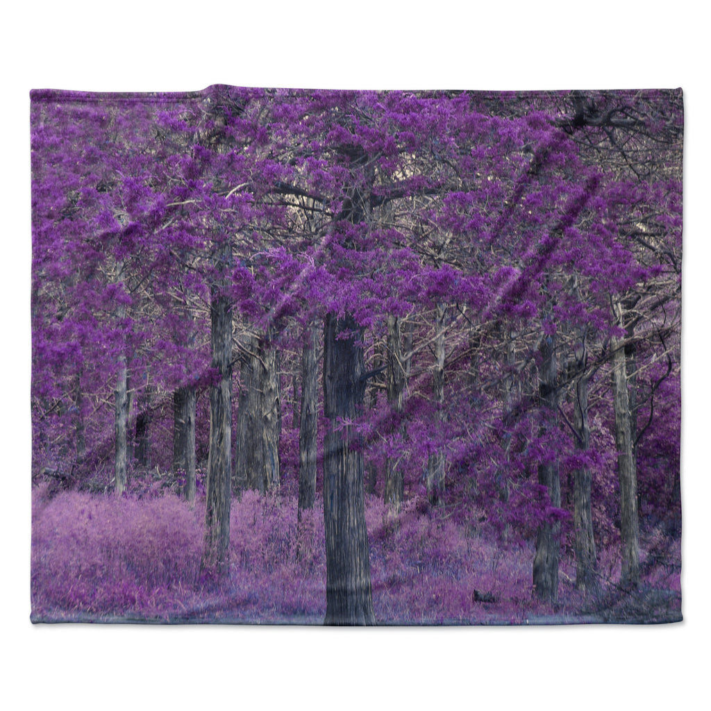 "Sylvia Coomes ""Purple Tree"" Purple Black Photography Fleece Throw Blanket"