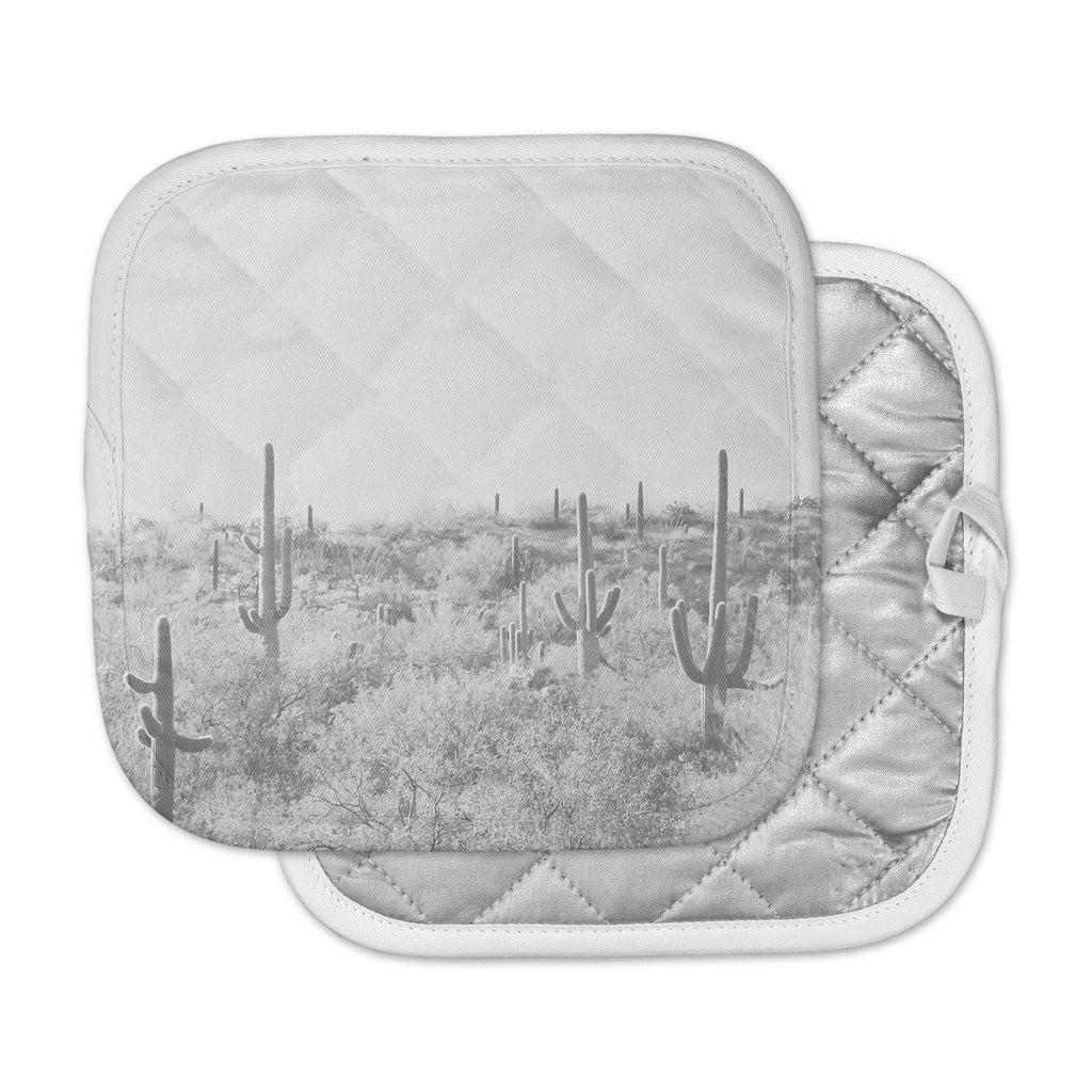 "Sylvia Coomes ""Black And White Cactus"" Black White Photography Pot Holder"