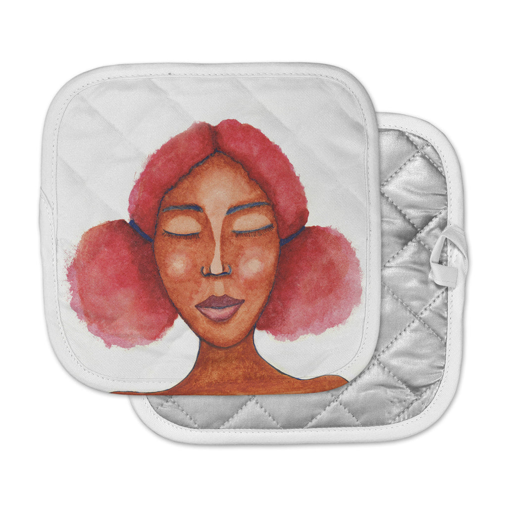 "Stacey-Ann Cole ""Five Minutes Of Peace"" Brown Pink Painting Pot Holder"
