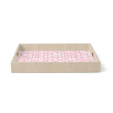 "bruxamagica ""Texture Lines Pink And White"" White Pink Abstract Stripes Digital Birchwood Tray"