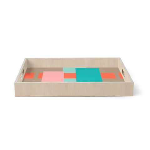 "bruxamagica ""Abstract Coral"" Coral Multicolor Abstract Geometric Digital Vector Birchwood Tray"