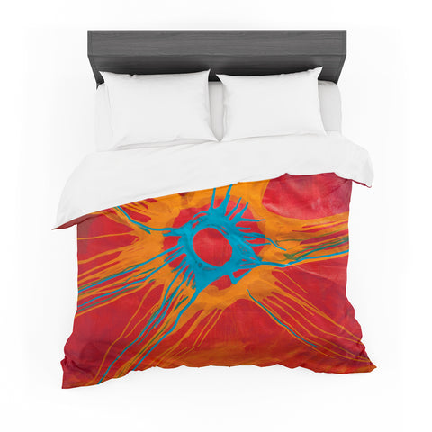 "Steven Dix ""Eclipse"" Red Orange Painting Featherweight Duvet Cover"