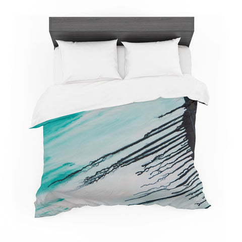 "Steven Dix ""Extractions"" Teal Black Painting Featherweight Duvet Cover"