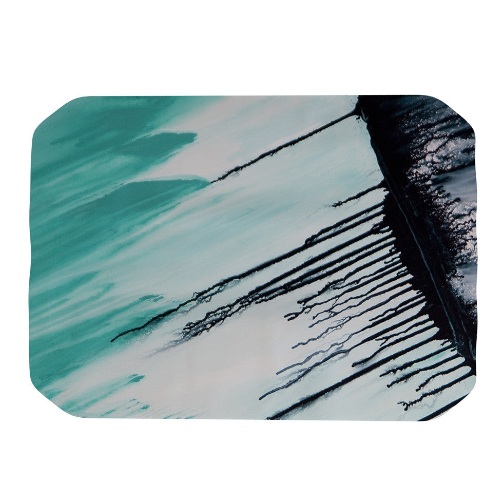 "Steve Dix ""Extractions"" Teal Black Place Mat - KESS InHouse"