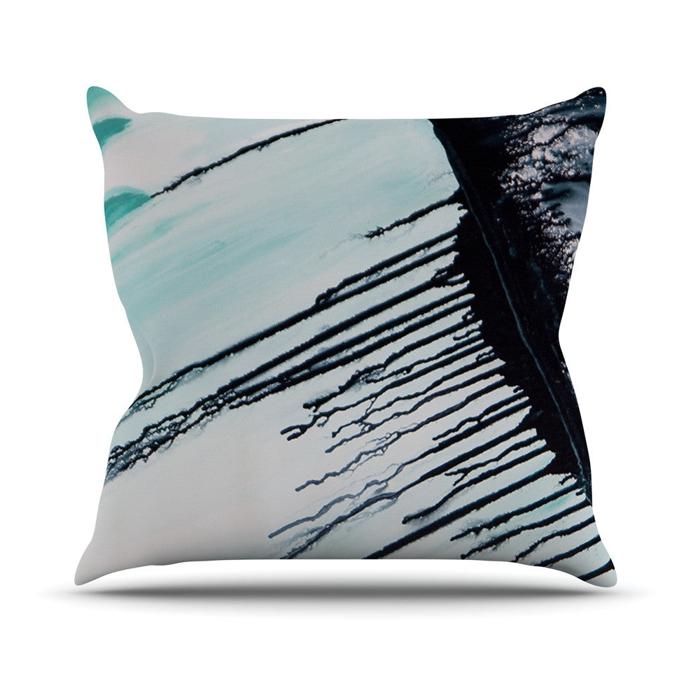 "Steve Dix ""Extractions"" Teal Black Outdoor Throw Pillow - KESS InHouse  - 1"
